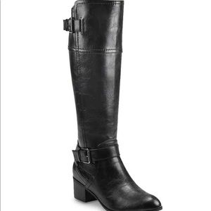 Black Leather Boots, Size 6, New in box